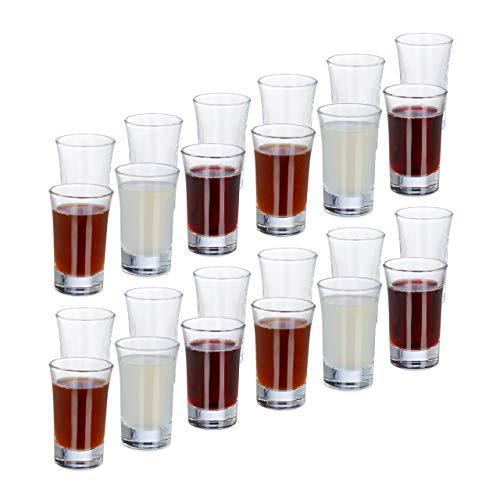 Relaxdays 24 x Schnapsglas, aus Glas, 4 cl, Tequila, Vodka, Kaffee, Party, Shots, spülmaschinenfest, Shotgläser, transparent