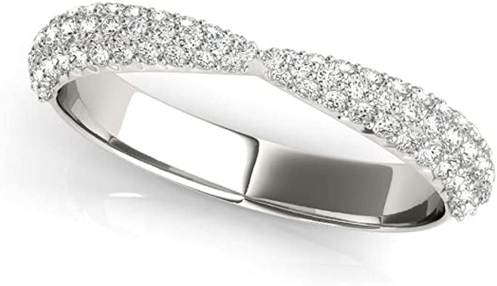 0.60 Carat Total Weight Tapered Manufacturer direct delivery Bow Ladies Natural Max 66% OFF Pavé Cu Round
