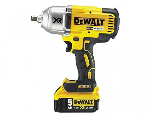 Dewalt DCF899P2-GB High Torque Impact Wrench 18V Cordless Brushless (2 x 5Ah Batteries), 18 V, Yellow/Black, 2 x 5.0Ah Li-Ion
