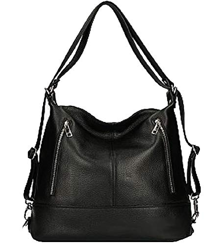 Bottega Carele Borsa a spalla trasformabile in Zaino in vera pelle BC7170. Made in Italy (Nero)