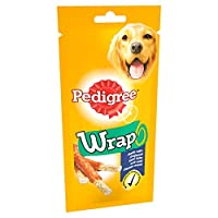 Pedigree wrap are munchy sticks made with chopped rawhide wrapped with delicious Chicken meat Delicious and tender treats, made to spark your dog's happiness High protein dog snack (80% protein)