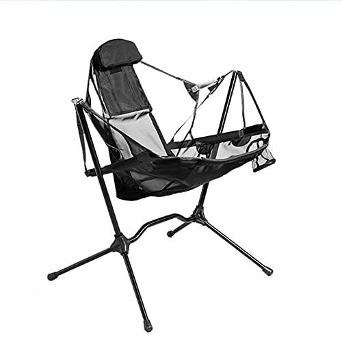 LOVEBLOOD Silla portátil Transpirable Malla Compact Silla Moon Swinging Sillón reclinable de Mecedora para la Pesca de Camping de reclinación automática al Aire Libre Silla Plegable Ligera