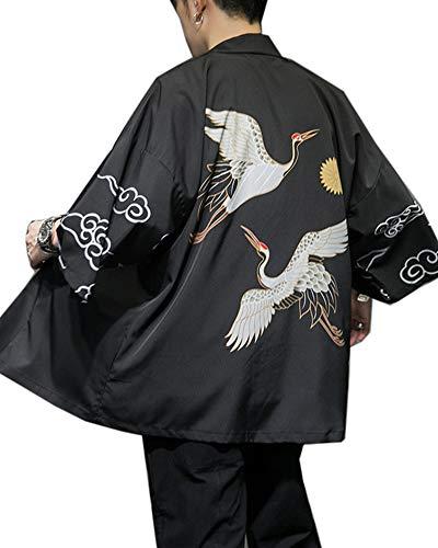 Fotang Chaqueta de Estilo Kimono Japonés Cloak Abrigo Para Hombre - Impreso Holgado Haori Cárdigan Camisa