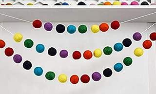 100% Wool Felt Ball Garland | Adjustable Pom Pom Garland - 35 Felt Balls (25mm, Rainbow)