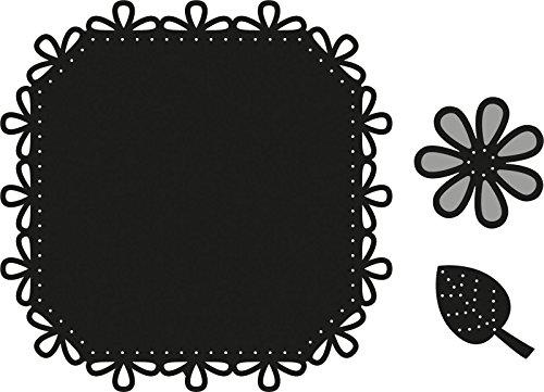 Marianne Design craftables Plantillas de Corte y Embossing, Punto Cuadrado y Flor, para proyectos de Manualidades de Papel, Metal, Gris, 200x90x5