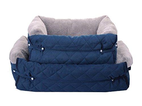 UMALL 4-in-1 hondenmand huisdierbed sofa huisdierdeken licht en draagbaar voor honden hondenhut stof, M = 56 * 50 * 37cm, blauw