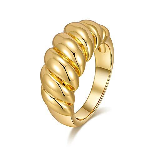 18k chapado en oro Chunky Croissant Dome gruesos anillos de sello Twisted apilable Banda Anillo minimalista Tamaño (5 a 10)