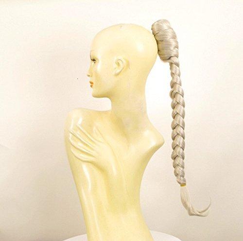 Postiche queue de cheval extension femme longue natte 50 cm blanche ref 4 en 60