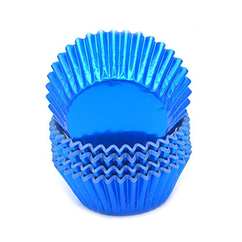 Mombake Standard Blue Foil Cupcake Liners Muffin Baking Cups for Party and More, 100-Count