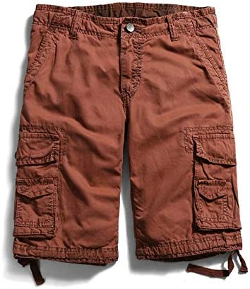 JiuRui Leisure Shorts Straight Pockets Cargo Shorts for Men Boardshorts Military Cotton Trousers 29-40 (Color : Red, Size : 34)