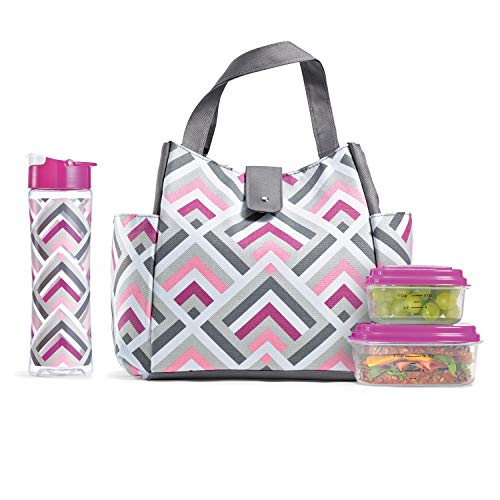 Fit & Fresh Insulated Lunch Bag Kit, includes Matching Bottle and Containers, Westport Magenta