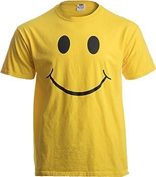 SMILEY FACE  SMILE  TEE! Adult Unisex T-shirt / Positive Optimist Sunny Happy Shirt yellow Large