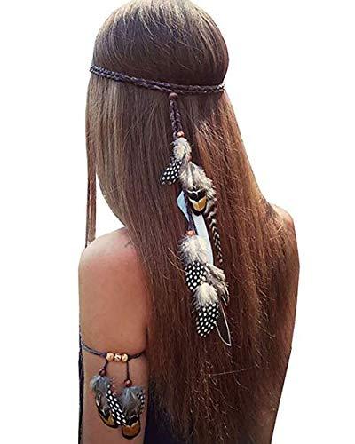 Set of 2 Hippie Peacock Feather Headwear Bohemian Tassels Headband Headdress with Armband Gypsy Woman Indian Fashion Head Chain and Headpiece (Black)