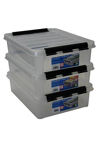 Orthex 35890703 3er Set Clipbox Smart Store Classic 14 Aufbewahrungsbox Plastik 40 x 30 x 11 cm, transparent