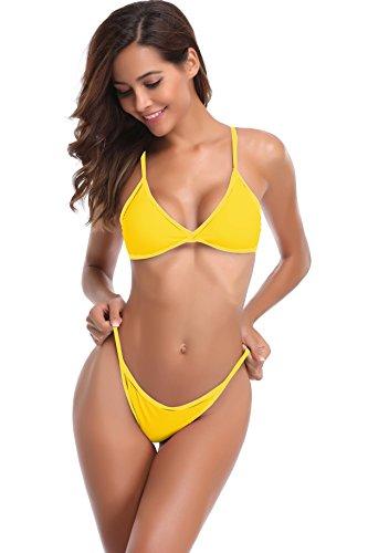 SHEKINI Damen String Tanga Triangel Bikini Set Gepolstert Bandeau Brasil Zweiteiler Bademode Tankini T-String Bikinislip (Medium, B-Gelb)
