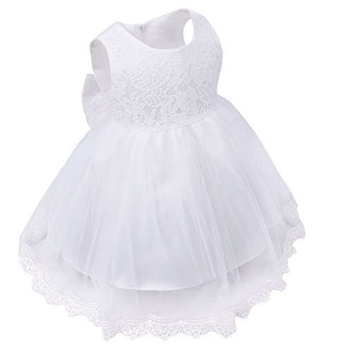 Freebily Vestido de Princesa Elegante para Niñas Bebés Vestido Infantil de Bautizo Fiesta Boda Blanco 9-12 Meses