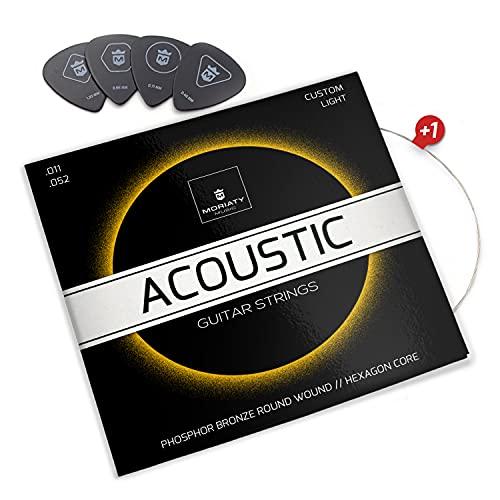 MORIATY® Juego de Cuerdas Guitarra Acústica de Fósforo/Bronce - Cuerdas de guitarra acustica - BONUS: 3 púas