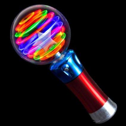 Light Up USA (TM) Flashing Light Up LED Spinning Ball Wand
