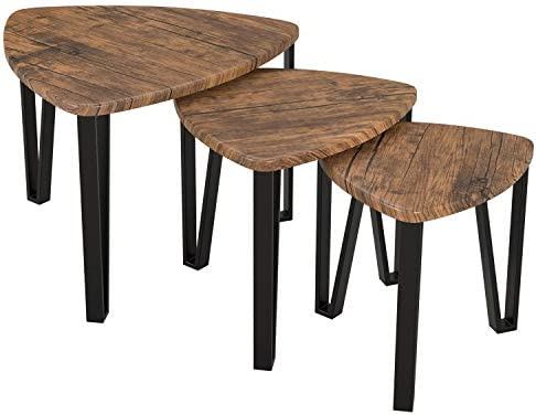 Best Homfa Nesting Coffee Tables, Set of 3 End Tables, Vintage Side Tables Bedroom, Nightstand Modern Fur