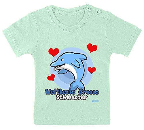 HARIZ Baby T-Shirt Weltbeste Grosse Schwester Delphin Geburtstag Schwanger Plus Geschenkkarte Zahnpasta Grün 9-15 Monate / 70-79cm