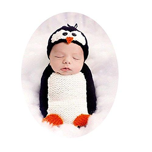Newborn Photography Props Baby Boy Girl Photo Outfits Crochet Costume Cute Penguin Sleeping Bag