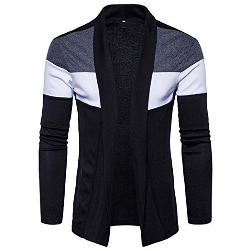 Men's Winter Clothes, Boomboom Men Slim Fit Hooded Knitted Sweater Trench Coat Cardigan (S, Black)