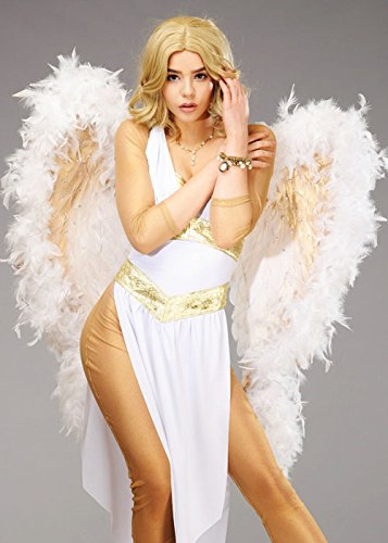 Deluxe Sparkle Weiß und Gold Feder Angel Wings