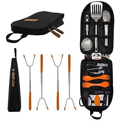 Camping Cooking Utensil Organizer Travel Set: 20 Piece Portable Camp Kitchen Utensil Travel Kit