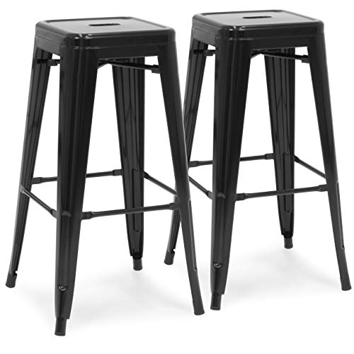 Best Choice Products 30in Set of 2 Modern Industrial Backless Metal Counter Height Bar Stools - Distressed White