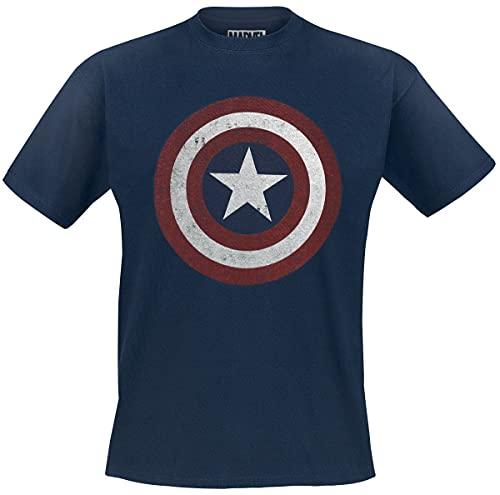 Capitán América Shield Logo Hombre Camiseta Azul Marino M, 100% algodón, Regular