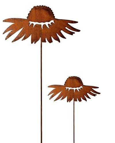 Bornhöft Gartenstecker Blume Beetstecker Topfstecker Metall Rost Gartendeko Edelrost Sonnenhut 2er Set rostige Dekoration