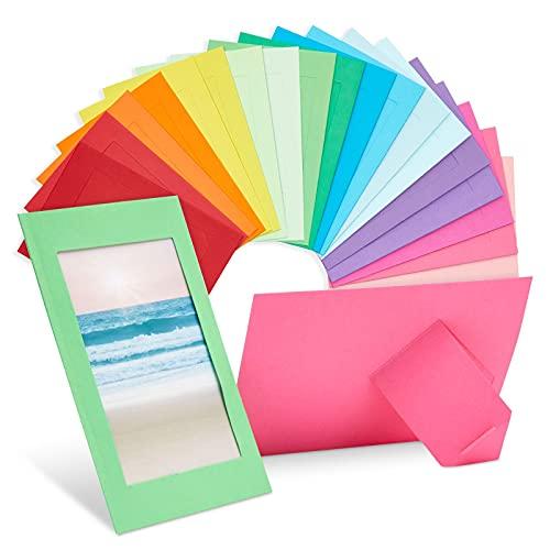 Paquete de 50 marcos de fotos de papel de colores, caballetes de cartón de 4 x 6 para bricolaje, colgar, aulas (10 colores)