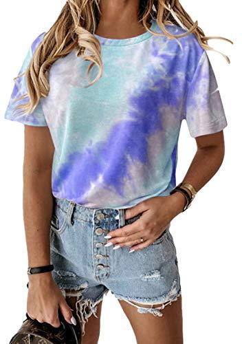 YMING Damen T-Shirt Kurzarm Top Farbverlauf Top CasualSummer Shirt Blau S