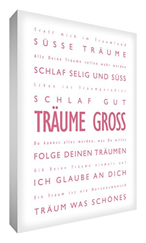 Little Helper DRBG2436-17RG Feel Good Art Toile pour décoration murale avec citations en allemand Thème : « Träume Gross » Typographie moderne Rose/Blanc 91 x 60 cm