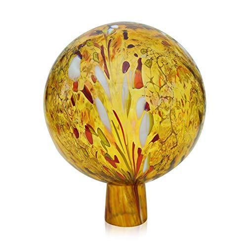 Lauschaer Glas Gartenkugel Rosenkugel aus Glas mit Granulat gold d 15cm mundgeblasen handgeformt