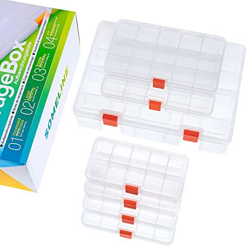 SOMELINE Caja de almacenamiento de plástico transparente con aguja e hilo Gadget almacenamiento de doble capa con separadores extraíbles 10, 15, 23 rejillas 7 paquetes
