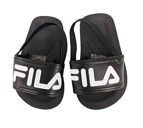 Fila Infant Logo Rubber Slide with Strap (Black, 9_Months)