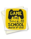 Back to School March 8th 2021 Gamer Greeting Card - Cute Back to School Student Gaming Controller Greeting Card - Return to School - 150mm Square Size Greetings Cards - Single Card - T1163