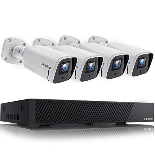 TOGUARD 5MP Kit de Cámara de Vigilancia PoE, con 4X 1920P Cámaras IP Exterior y 8CH H.265 NVR, Visión Nocturna, Detección de Movimiento, Grabación 24/7, Alerta de Correo Electrónico, Acceso Remoto