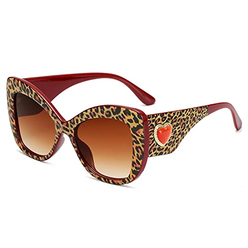 Heigmznvtyj Gafas de Sol Mujer Polarizadas, Gafas de Sol Gafas de Gato Gafas de Sol Retro Color Retro Gafas de Gran tamaño (Lenses Color : Leopard)