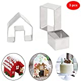 Christmas Cookie Cutters Set 3pcs- 3D Stainless Steel Mini Gingerbread House Cookie Cutter Kit, Chocolate Little House Biscuit Mold Fondant Cake Decorating Holiday DIY Baking Tools