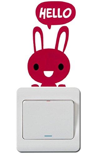FASHION BOUTIK sticker mural interrupteur (cochon,grenouille,ourson etc) chambre enfant fille garçon bébé (lapin)