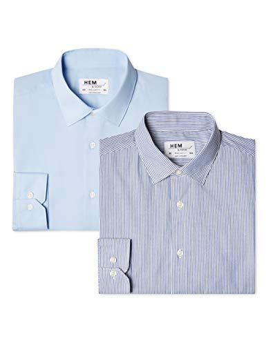 39 cm Pacco da 2 Camicia Gingham Slim Fit Uomo Marchio Gingham Navy // White Mehrfarbig find Label:M