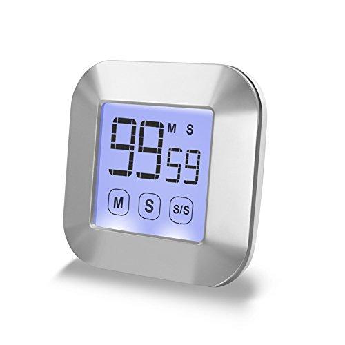 Minuteur de cuisine CEEBON avec écran tactile - Compte et décompte avec alarme puissante - Rétro-éclairage magnétique à l'arrière