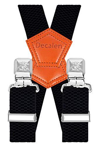 Decalen Hosenträger für Herren Breit 4 cm mit sehr Starken 4 Metall Clip Lang Einheitsgröße für Männer und Damen Einstellbar und Elastisch X Style (Schwarz 1)