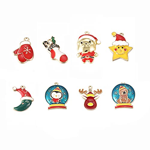 Ornaland 8 Pieces Christmas Theme Alloy Enamel Pendants Flat Round Christmas Series Charms for DIY Crafts Jewelry Making