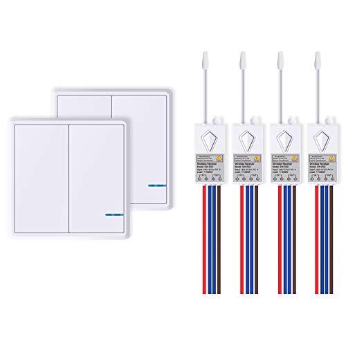NineLeaf Funk Lichtschalter mit Fernbedienung Schalter mit Empfänger Wireless Homekit Drahtloser Schalter Wasserdicht IP66, 2X 2-Gang-Schalter und 4 Empfänger