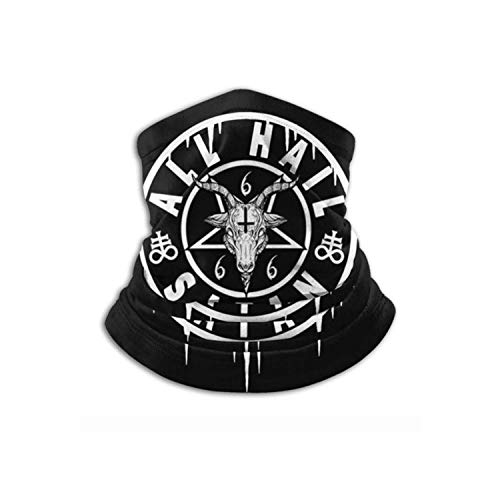 All Hail Satan Baphomet Satanic and Occult Unisex Bandana Face Mask Warmer Neck Tube for Dust Wind Sun Protection Black