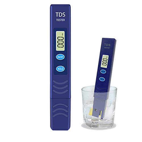 TDS Tester, Water Quality Meter LCD Pen with 0-9990 PPM Measurement Range Portable for The aquaculture Industry Hospitals, Swimming Pools, Household tap Water Quality Testing (Blue)