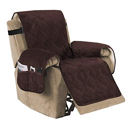 Recliner Sofa Slipcover Slip Resistant Quilted Velvet Plush Recliner Cover Furniture Protector Seat Width Up to 28' Couch Shield 2' Elastic Straps (Recliner, Brown)
